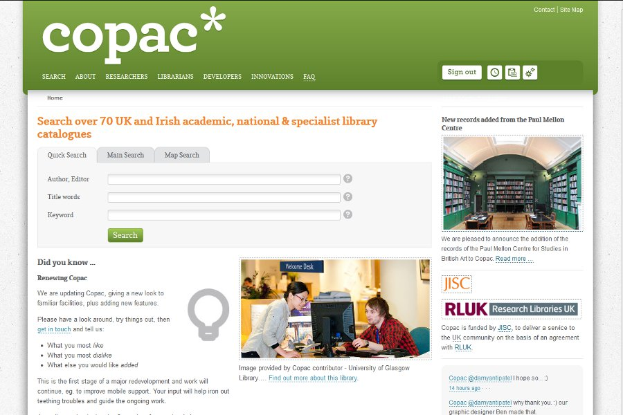 Image of the Copac website