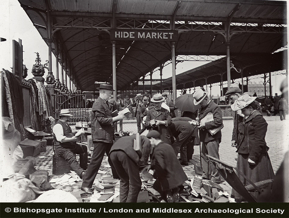 Book sale at market, ca. 1910. Image credit: Bishopsgate Institute/LAMAS.