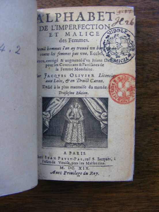 Jacques Olivier, Alphabet de l'imperfection et malice des femmes, Paris, 1619. Title page, showing the infamous depiction (engraved title vignette) of a woman with chicken feet