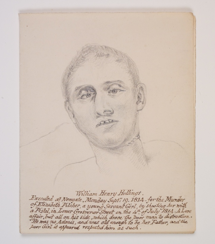 "Sketch of head from ""Record of the Bodies of Murderers, delivered to the College for Dissection."", by William Clift"
