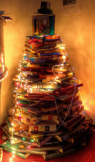 Photo of a Christmas tree made of books