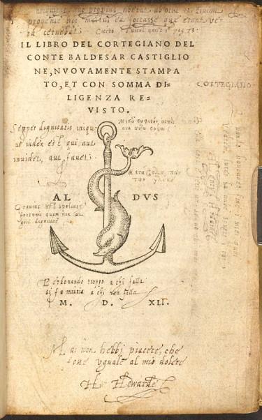 Image of Baldassare Castiglione, Il Libro Cortegiano (1541).