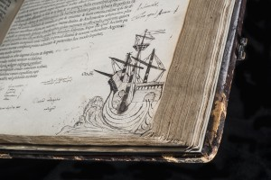 Dee's evocative sketch of a ship in full sail. Opera. Cicero, published Paris, 1539. © Royal College of Physicians / John Chase
