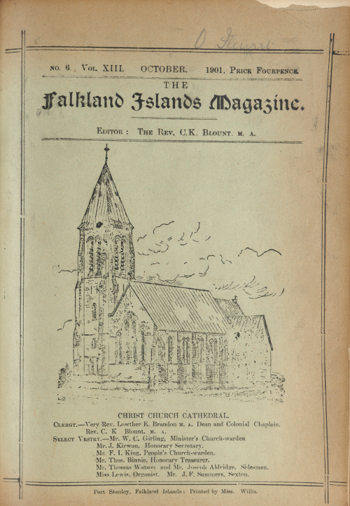 Image of Christ Church Cathedral, Falkland Islands Magazine cover, 1901.