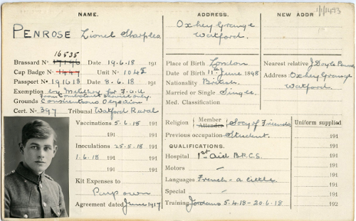 Photo of Friends Ambulance Unit service card for Lionel Sharples Penrose