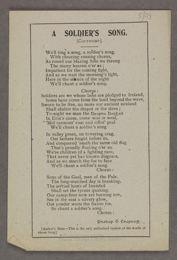 Photograph of A Soldier's Song, Peadar Ó Cearnaigh [ca.1916]
