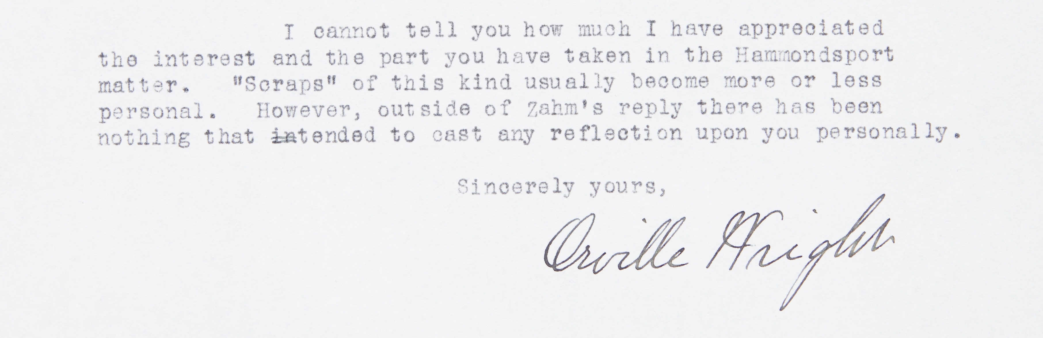 Letter from Orville Wright to Griffiths Brewer, 1922