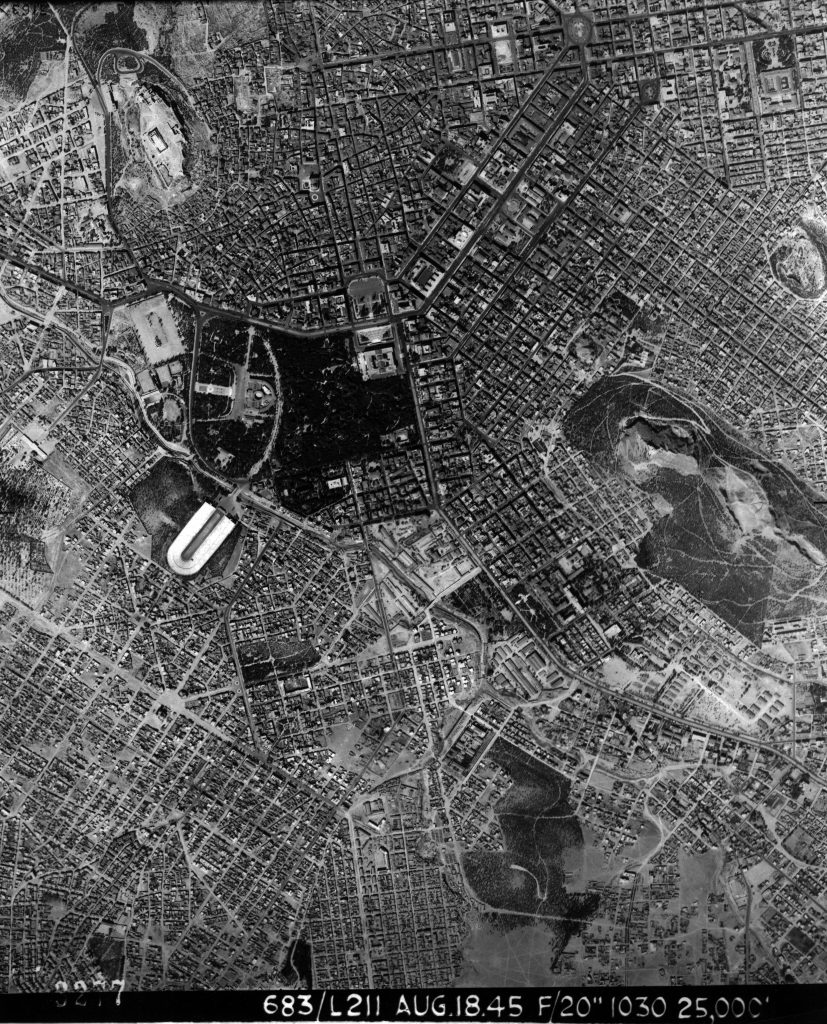Photographic frame showing the centre of Athens