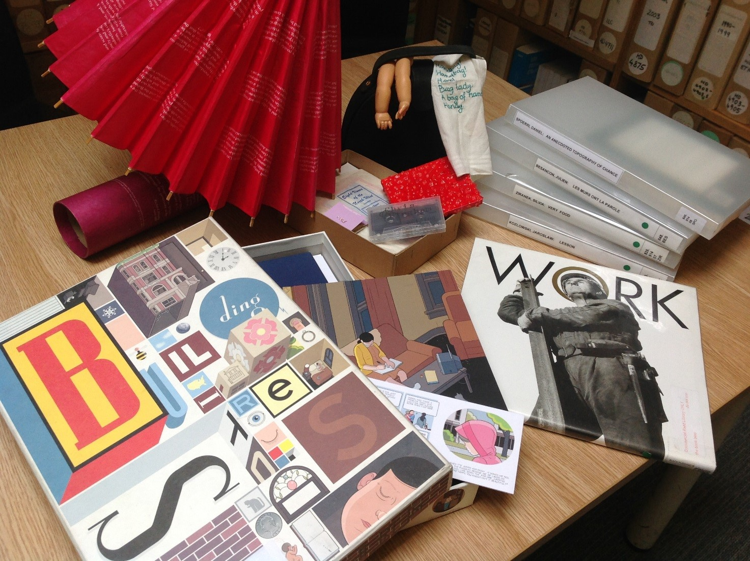 Photograph of samples from LMU's Artists' Books Collection